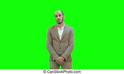 projet, chroma, écran, regarder, appareil photo, vert, key., homme affaires, présentation