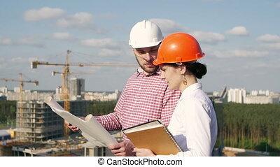 projet, discuter, architecte, ingénieur