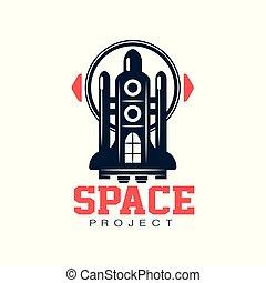 projet, expedition., vecteur, emblème, chemise, plat, résumé, ou, cosmique, space., créatif, voyage, conception, impression, logo, pièce, shuttle., écusson, style., scientifique