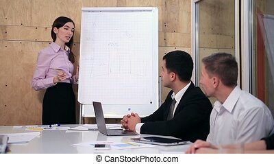 projet, femme affaires, collègues, présentation, elle