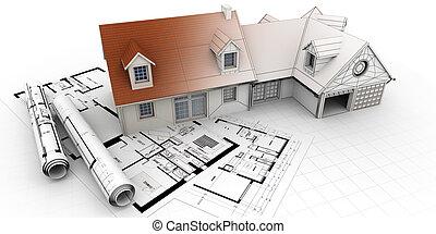 projet, maison, architecture, achèvement