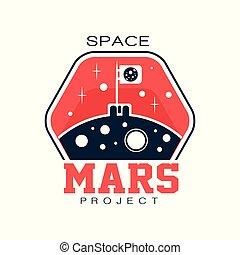 projet, ou, contour, espace, résumé, planet., cosmique, mars., plat, étiquette, explorer, drapeau, vecteur, impression, découvrir, logo, journey., emblem., autocollant, rouges