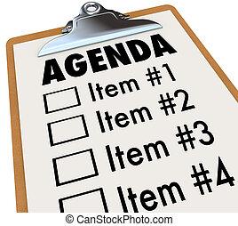 projet, presse-papiers, plan, ordre du jour, réunion, ou
