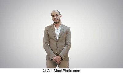 projet, regarder, arrière-plan., appareil photo, présentation, homme affaires, blanc