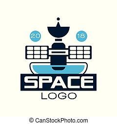 projet, satellite., conception abstraite, logo, bleu, style, station spatiale, impression, fill., autocollant, plat, emblème, scientifique, t-shirt, orbiter, contour, technology., cosmique, vecteur, ou