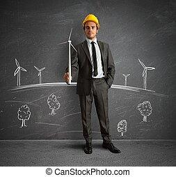 projet, turbine, énergie, vent