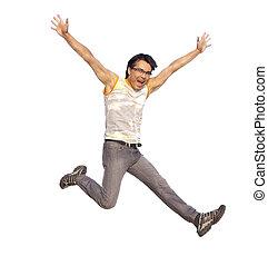 prolongé, jeune, isolé, bras, air, sauter, homme, heureux