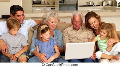 prolongé, ordinateur portable, togeth, utilisation, famille