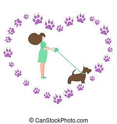 promenade, canin, chien, gens, pistes, actif, vecteur