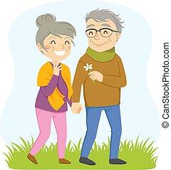promenade, couple, romantique, plus vieux