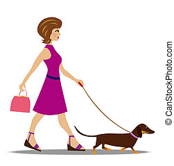 promenade, femme, chien, jeune