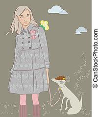 promenade, girl, chien