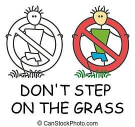 promenade, rouges, étape, pas, prohibition., ou, herbe, homme bâton, rigolote, arrêt, enfants, icône, signe, vecteur, style., grassplot, symbole.