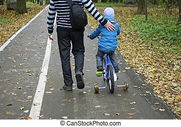 promenades, garçon, bike., sien