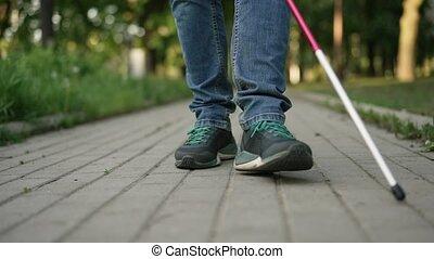 promenades, homme aveugle, canne