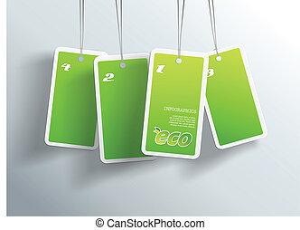 propre, card., eco, texte, pendre, quatre, vert, boîte, chaque, endroit, vous, ton, cartes.