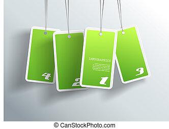 propre, card., texte, pendre, quatre, vert, boîte, chaque, endroit, vous, ton, cartes.