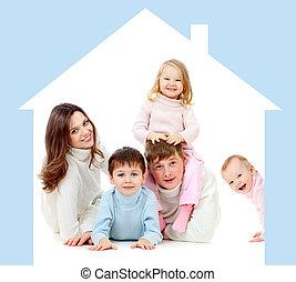 propre, famille, maison heureuse, concept