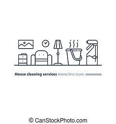 propre, icônes, maison, rafraîchir, services, entretien, intérieur, ligne