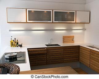 propre, moderne, bois, lignes, branché, conception, cuisine