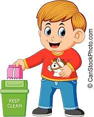 propre, trush, environnement, garder, garçon, corbeille à papier