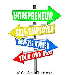 propres affaires, soi, patron, entrepreneur, signes, propriétaire, employé, ton