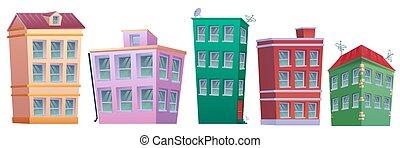 propriété, dessin animé, ensemble, maison, vrai