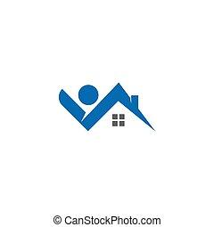 propriété, logo, construction
