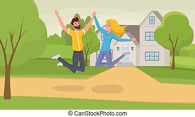 propriété, maison, arbres, house., gai, célébrer, nouveau, heureux, vrai, plat, femme, couple, saut, sauter, en mouvement, caractères, dessin animé, homme, illustration., épouse, vecteur, mari
