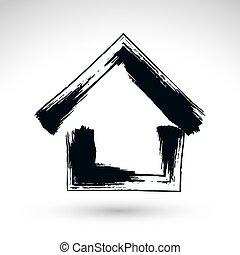 propriété, simple, maison, logotype, main, icône, s, pays, petite maison, dessiné