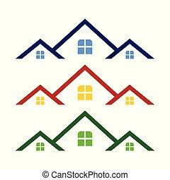 propriété, triple, symbole, gabarit, vrai, conception, logo, toit
