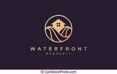 propriété, vague, or, ligne, cercle, océan, maison, forme, logo