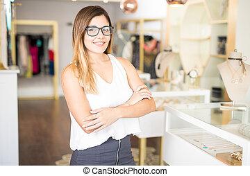 propriétaire, mode, magasin, business