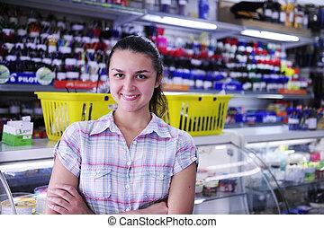 propriétaire, papeterie, magasin, heureux