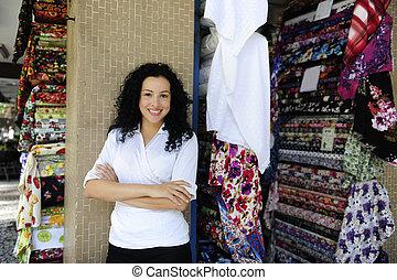 propriétaire, tissu, magasin, heureux