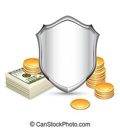 protéger, sécurité, bouclier, argent