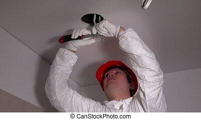 protecteur, électricien, câble, enlever, isolation, workwear, couteau, beau