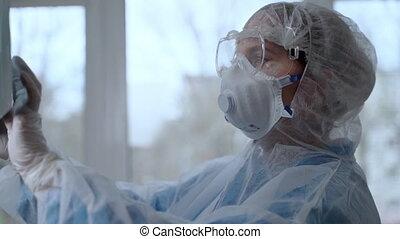 protecteur, covid-19, examiner, pneumonia, concept, rayon x, coronavirus, docteur, pandémie, patient, complet, clinic.