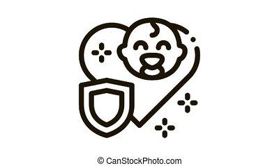 protection, bébé, icône, immunity, animation