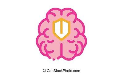 protection, cerveau, animation, icône