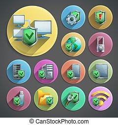 protection, données, icônes, ensemble