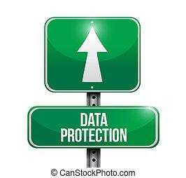 protection, données, route, illustration, signe
