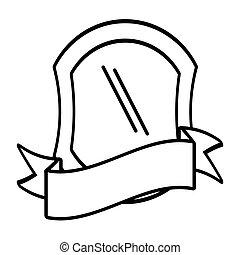 protection, emblème, bouclier, vide, contour
