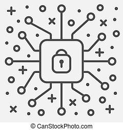 protection, information, sécurité, vecteur, concept, réseau, linéaire, illustration, cyber