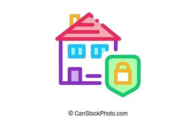 protection, maison, animation, icône