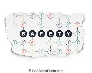 protection, papier déchiré, sécurité, fond, concept: