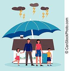 protection, propriété, property., assurance, vrai, maison famille