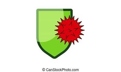 protection, virus, icône, animation