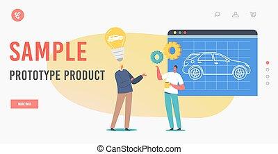 prototype, template., présentation, échantillon, process., page, produit, automobile, projet, atterrissage, ingénieurs, auto, prototyping