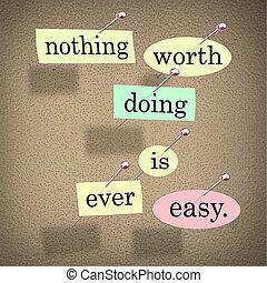 proverbe, citation, valeur, planche, facile, rien, jamais, bulletin